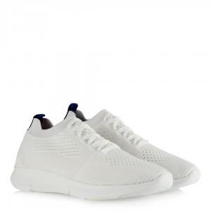 Beyaz Bağcıklı Spor Ayakkabı Streç