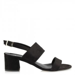 Sandalet Az Topuklu Siyah Süet
