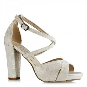Nikah Ayakkabısı Kırık Beyaz Dantel Çapraz Bantlı