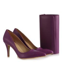 Stiletto Ayakkabı Çanta Takım Mor