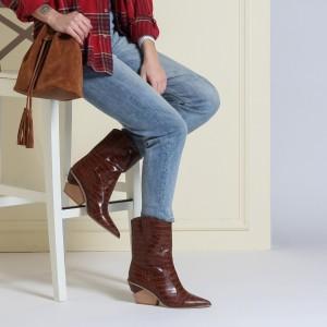 Topuklu Bot Kahverengi Kovboy Model