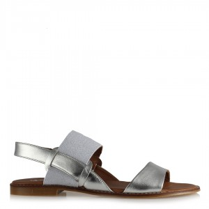 Sandalet Lastikli Gümüş Mat