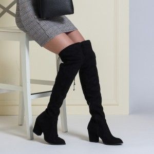 Streç Çizme Modelleri Topuklu  Siyah Süet