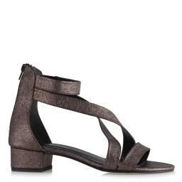 Topuklu Sandalet Ayakkabı Füme Çapraz Kemerli