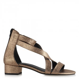 Topuklu Sandalet Ayakkabı Bakır Çapraz Kemerli