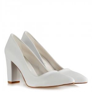Nikah Ayakkabısı Beyaz Kalın Topuklu