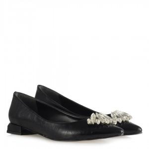 Siyah Babet Ayakkabı Beyaz Taşlı