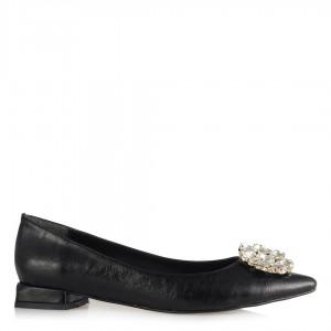 Babet Ayakkabı Siyah Beyaz Taş Çiçek