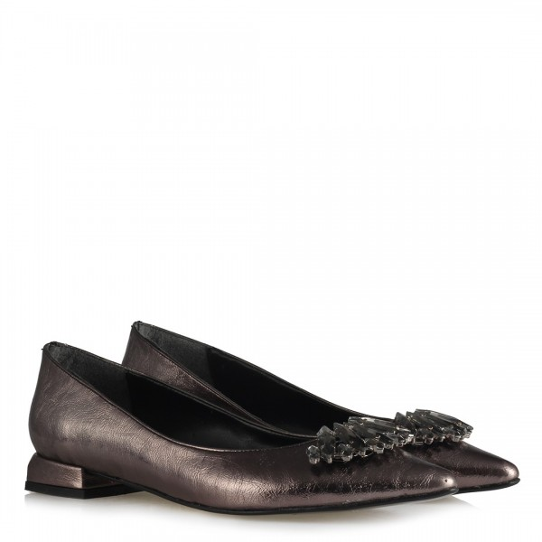 Babet Ayakkabı Platin Rengi Taşlı