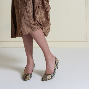 Stiletto Az Topuklu Kahverengi Yılan Baskı