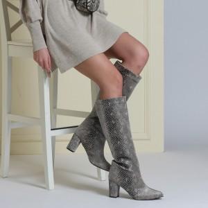 Topuklu Çizme Modeli Gri Yılan Baskı