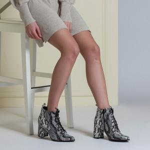Bağcıklı Topuklu Bayan Bot Siyah Beyaz Yılan