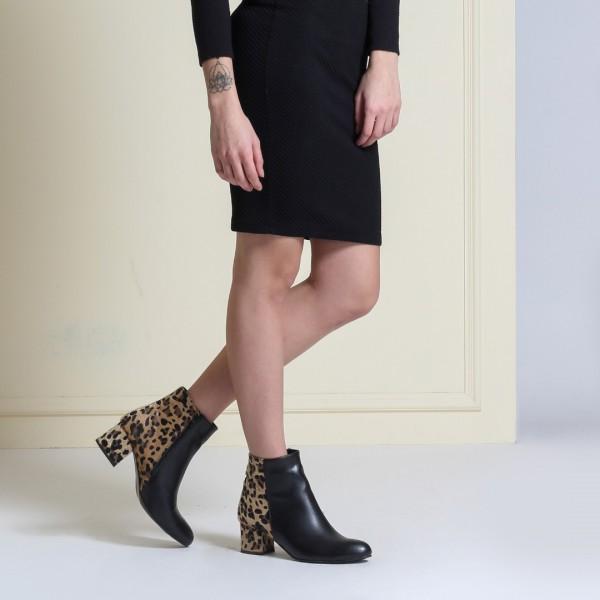 Bayan Topuklu Bot Siyah Leopar
