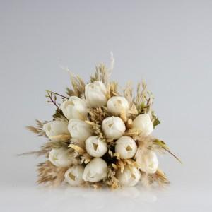 Gelin Buketi Kırık Beyaz Lale Kuru Çiçek