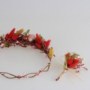 Gelin Tacı ve Yaka Çiçeği Renkli Tasarım