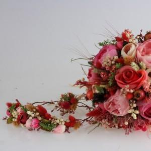 Gelin Çiçeği Ve Tacı Takım Renkli