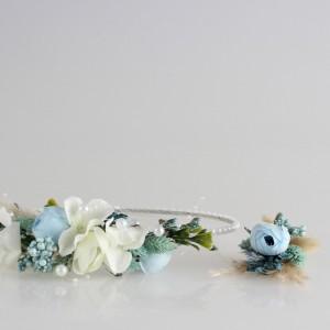 Gelin Tacı Damat Yaka Çiçeği Mavi İncili Tasarım