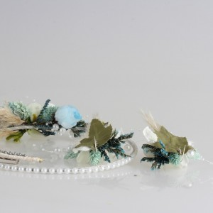 Gelin Tacı Damat Yaka Çiçeği ve Küpesi  Mavi İncili Tasarım
