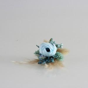 Damat Yaka Çiçeği Mavi İncili Tasarım
