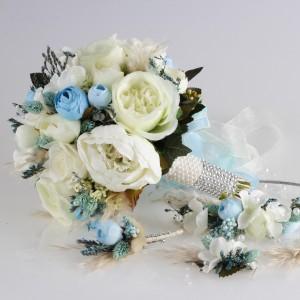 Gelin Buketi Tacı Yaka Çiçeği Küpe Seti Mavi İncili Tasarım