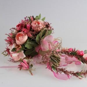 Gelin Çiçeği Ve Tacı Şeker Pembe Gül Takım