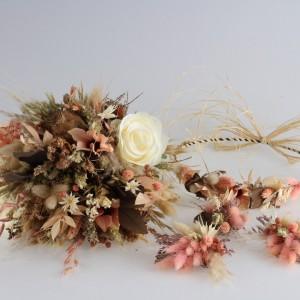 Gelin Buketi Tacı Yaka Somon Kuru Çiçekler