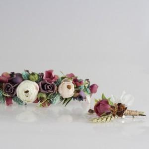 Gelin Tacı Damat Yaka Çiçeği Takım Mürdüm Çiçekler