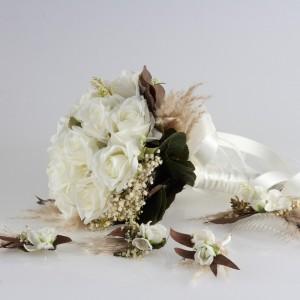 Gelin Buketi Tacı Yaka Çiçeği Küpe Kırık Beyaz Gül Takım