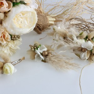 Gelin Buketi Tacı Yaka Çiçeği Küpe Seti Kırık Beyaz Şakayık Tasarım