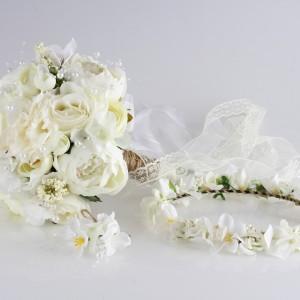 Gelin Buketi Tacı Yaka Çiçeği Beyaz Şakayık Tasarım