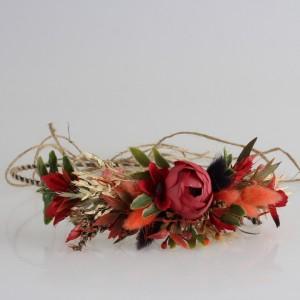 Gelin Tacı Bordo Kuru Çiçek Tasarım