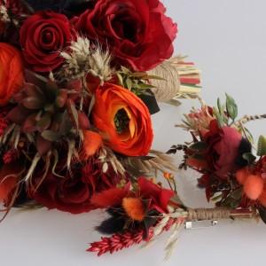 Gelin Buketi Tacı Yaka Çiçeği Bordo Kuru Çiçek Tasarım