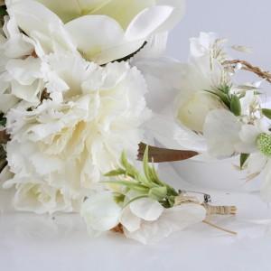 Gelin Buketi Tacı Yaka Çiçeği Kırık Beyaz Aranjman