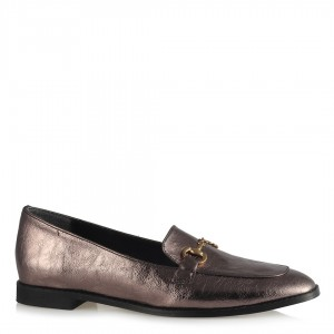 Düz Ayakkabı Bayan Loafer Platin Rengi