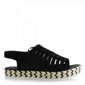 Siyah Sandalet Hasır Taban Şeritli