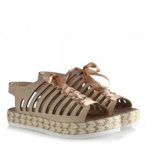 Bej Rengi Hasır Taban Şeritli Sandalet
