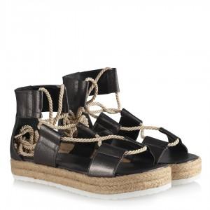 Sandalet Platin Yaldızlı Halatlı