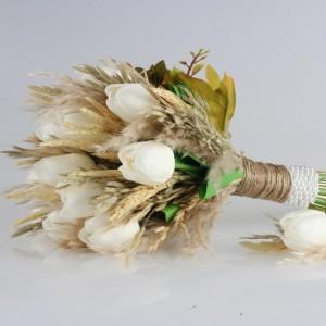 Gelin Buketi Damat Yaka Çiçeği Kırık Beyaz Lale Kuru Çiçek