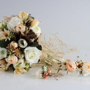 Gelin Buketi Tacı Yaka Çiçeği Soft Renkler Set