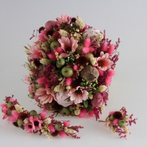 Gelin Buketi Tacı Yaka Çiçeği Pembe Kuru Çiçekler