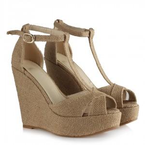 Hasır Desenli Dolgu Topuk Ayakkabı