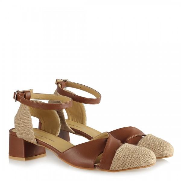 Taba Hasır Kemerli Topuklu Ayakkabı