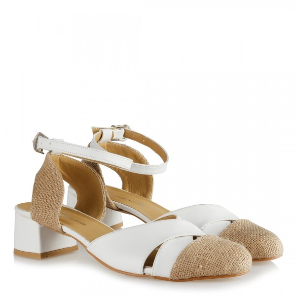 Topuklu Ayakkabı Beyaz Hasır Kemerli