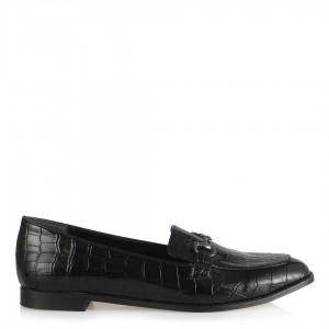 Düz Ayakkabı Siyah Crocodile Rugan