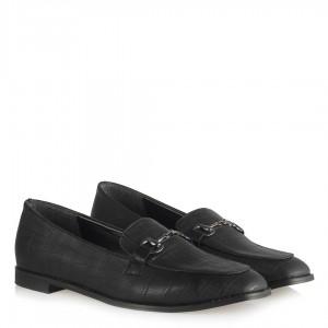 Düz Ayakkabı Siyah Crocodile Deri