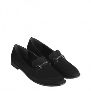 Siyah Süet Düz Ayakkabı Bayan Loafer