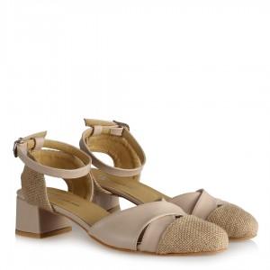 Topuklu Ayakkabı Ten Hasır Kemerli