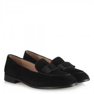 Siyah Hakiki Deri Süet Fiyonklu Ayakkabı