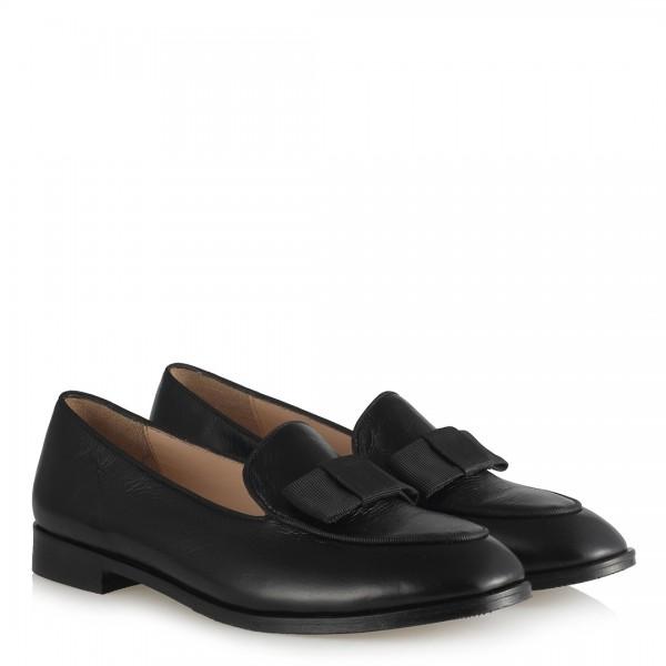 Düz Ayakkabı Siyah Hakiki Deri Fiyonklu