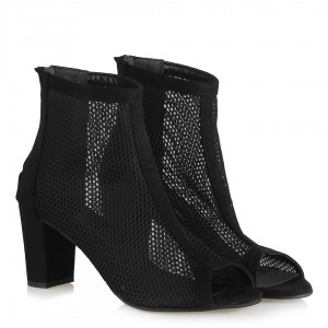 Fileli Siyah Süet Yazlık Bot Sandalet